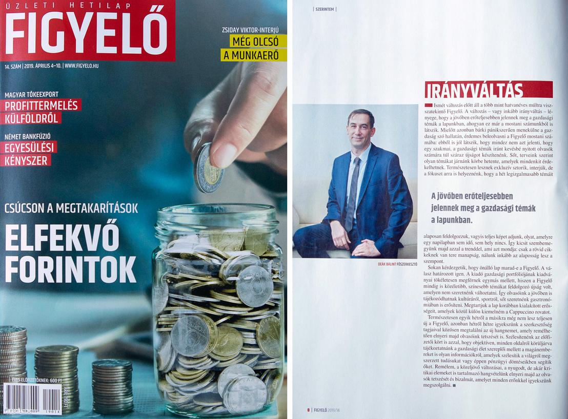 Figyelő 2019. áprilisi számának címlapja, és Deák Bálint főszerkesztő köszöntője