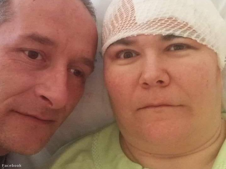 Molnár Zsolt és felesége, Posztós Zsuzsanna az agyműtét után a kórházban.