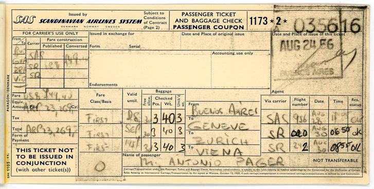 Antonio Páger repülőjegye 1956-ból