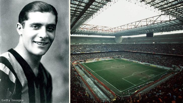 Bal oldal: Giuseppe Meazza 1935-ben. Jobb oldal: Giuseppe Meazza / San Siro stadion belülről