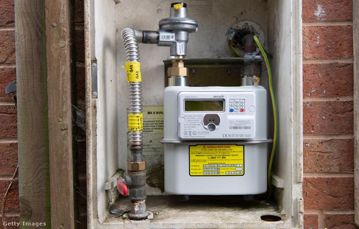 Okos mérőóra, amely adatokat küld az gázszolgáltatónak, Caerphilly városában, Angliában