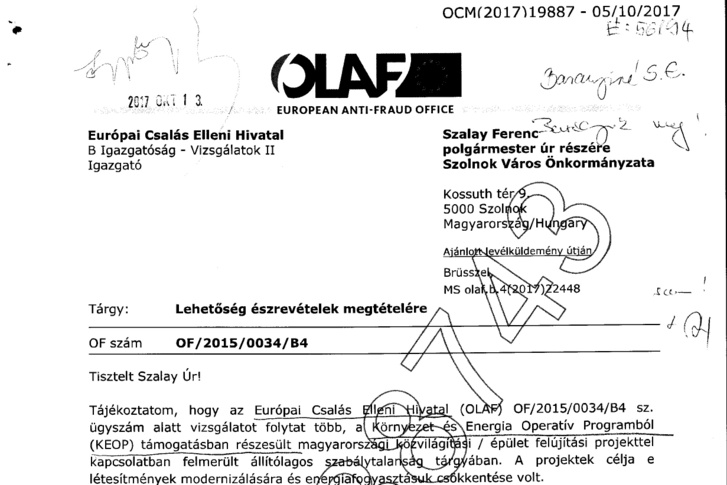 Levél az OLAF-tól Szalay Ferencnek, Szolnok polgármesterének.