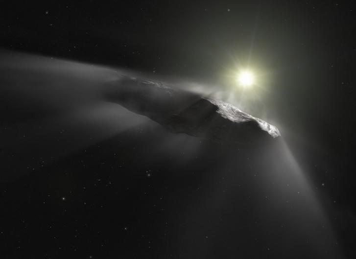A fantáziarajz a Naprendszerben elsőként felfedezett csillagközi objektumot, az `Oumuamuát mutatja.