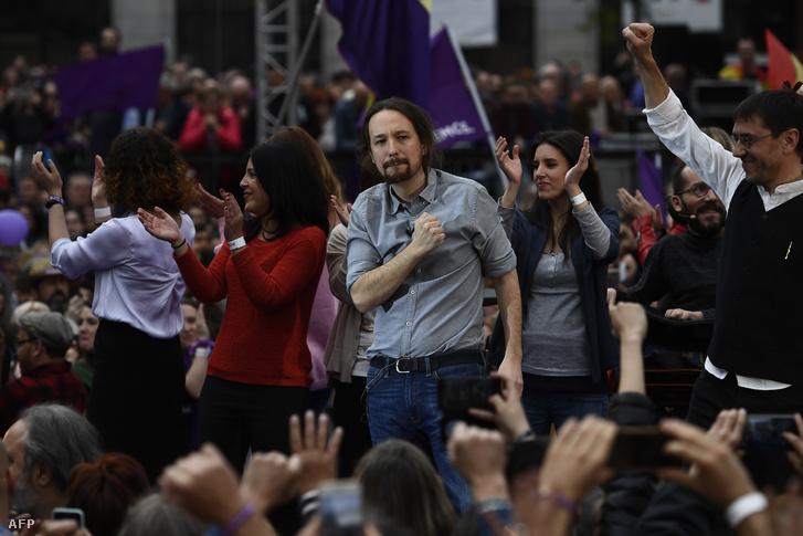 Pablo Iglesias, a Podemos párt vezetője a párt kampányrendezvényén 2019. március 23-án