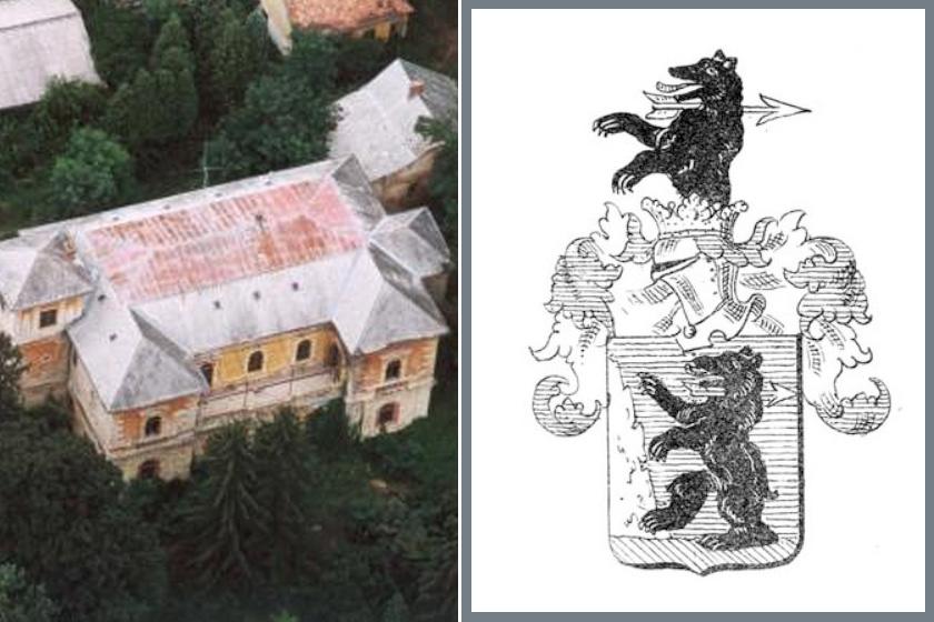 A kastély madártávlatból és jobbra a családi címer.