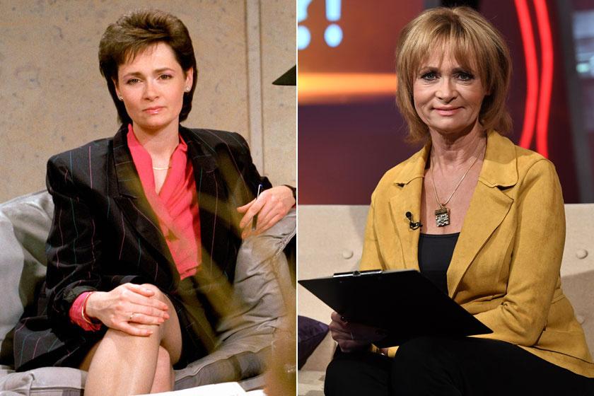 Radványi Dorottya 1990-ben és napjainkban. A bájos bemondó már évek óta a Hogy volt?! című műsort vezeti.