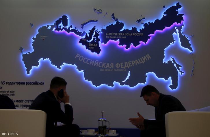 Résztvevők az V. Nemzetközi Északi-sarkvidékki Fórumon Szentpéterváron 2019. április 9-én.