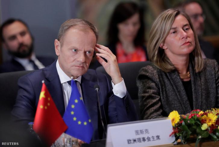 Donald Tusk az EU–Kína csúcstalálkozón Brüsszelben 2019. április 9-én.