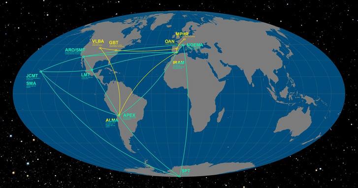 Az EHT-ben résztvevő obszervatóriumok globális hálózata