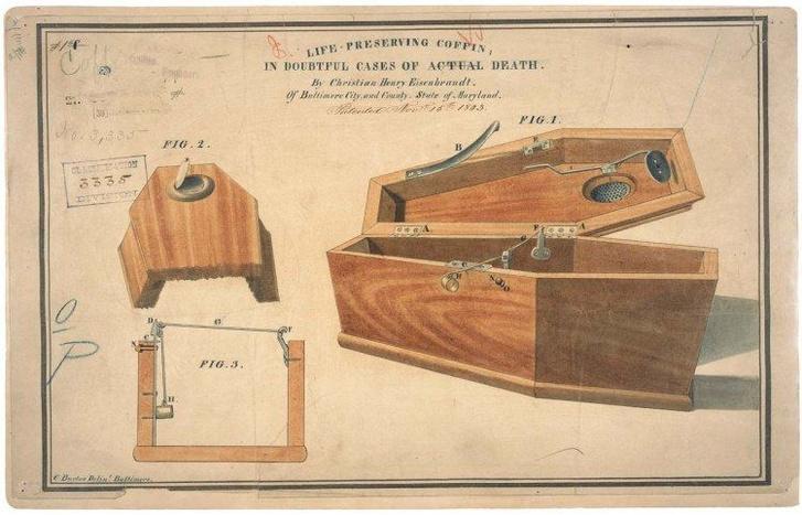 Biztonsági koporsó szabadalmi ábrája