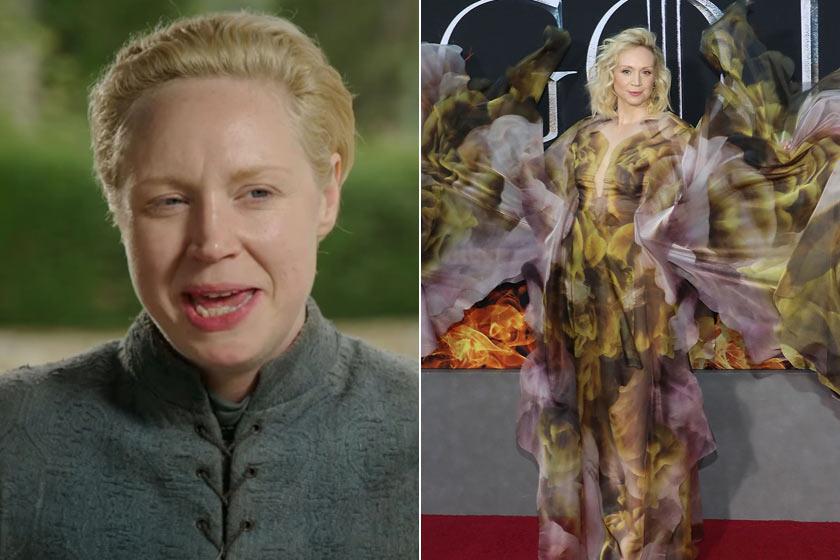 Gwendoline Christie a sorozat Tarth-i Brienne-jeként és a sorozat premierjén. Meg nem mondanánk, hogy a két kép ugyanazt a nőt ábrázolja!