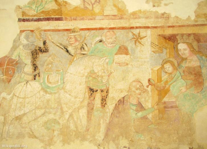A három királyok egyikének majom vezeti a lovát a Veleméri templom freskóján