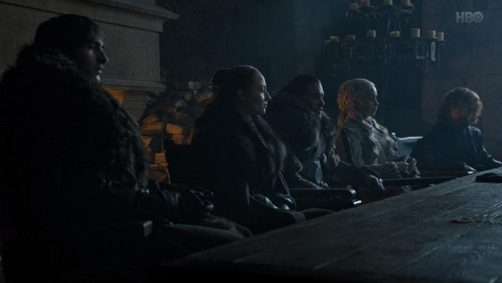 Balról jobbra: Bran Stark, Sansa Stark, Jon Snow, Daenerys Targaryen, Tyrion Lannister