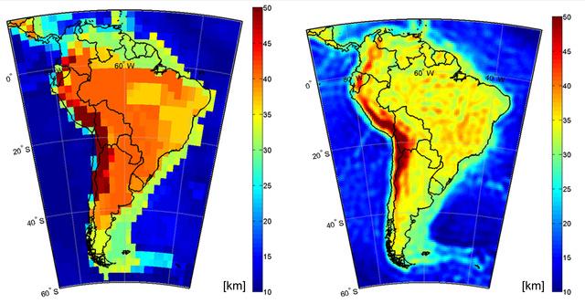 Jóval pontosabb az új eljárás (jobboldalt) a régebbi szeizmikus-gravitációs méréseken alapuló adatoknál