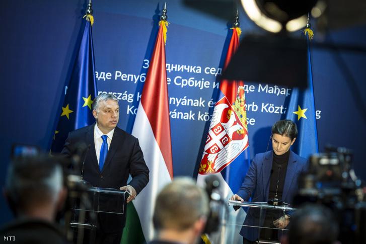 Orbán Viktor miniszterelnök és Ana Brnabic szerb kormányfő sajtótájékoztatót tart az ötödik magyar-szerb kormányzati csúcstalálkozón Szabadkán, a Vajdaságban 2019. április 15-én