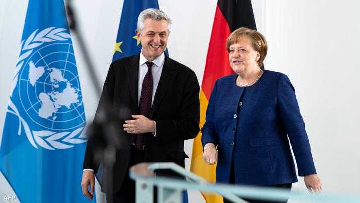 Filippo Grandi és Angela Merkel