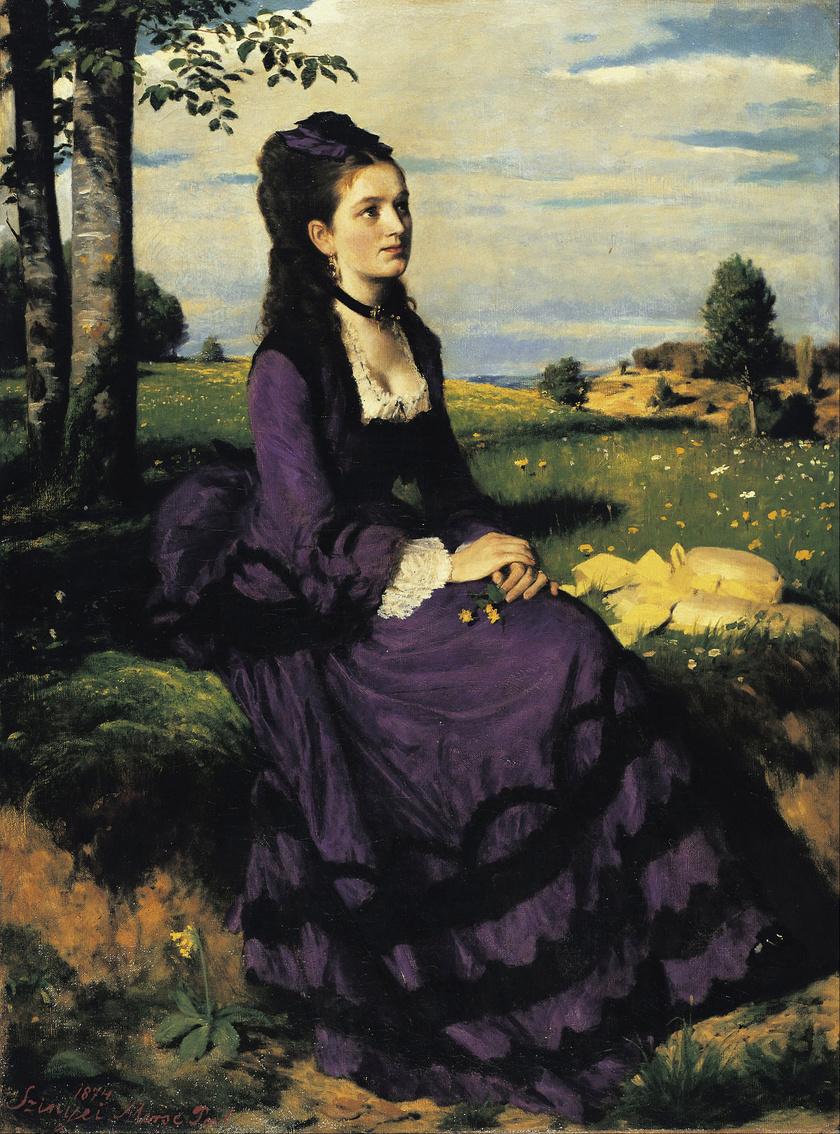 A Lila ruhás nő - Szinyei Merse Pál képe.