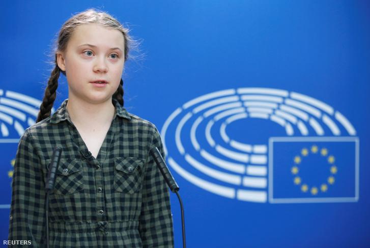Greta Thunberg az Európai Parlamentben 2019. 04. 16-án