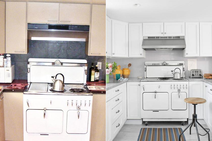 Az új konyhában a bútorok egységes, letisztult, fehér borítást kaptak, a mikró helyére pedig színben passzoló, virágos váza és edények kerültek.