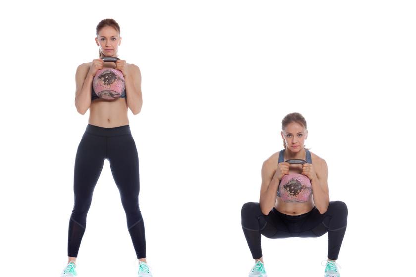 A súlyzót szorítsd a mellkasodhoz, majd így végezz szabályos mély guggolást 15-ször.