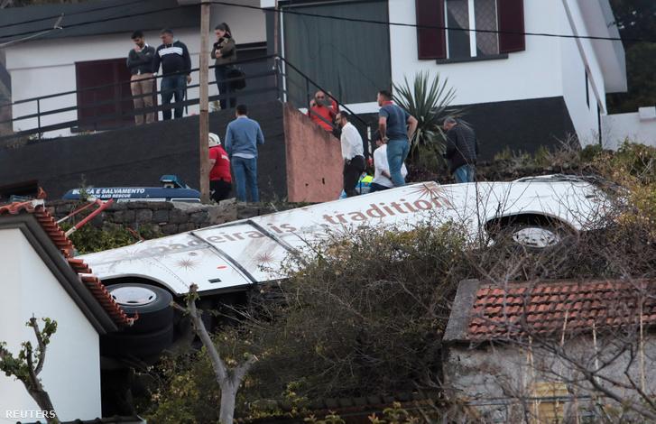 A balesetet szenvedett busz Madeirán
