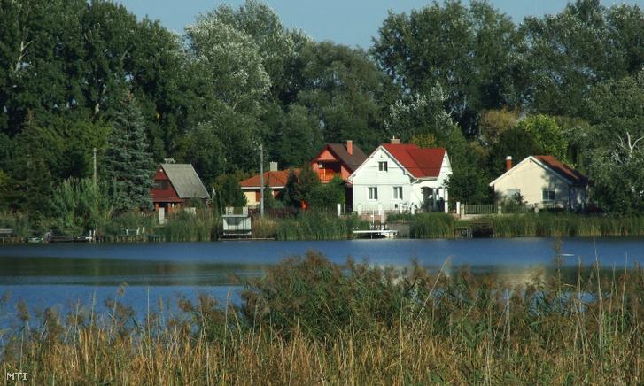 Lakóépületek és nyaralók sora természeti környezetben a Ráckevei Duna partján