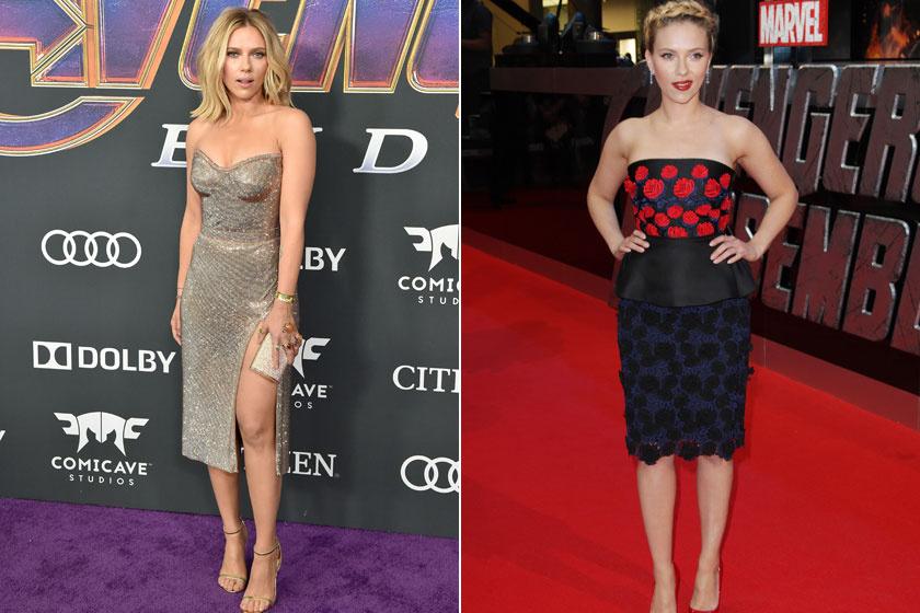 Scarlett Johansson a Bosszúállók: Végjáték premierjére egy dögös, combvillantós estélyit húzott, míg a film legelső részének bemutatóján egy visszafogottabb darabban tündökölt.