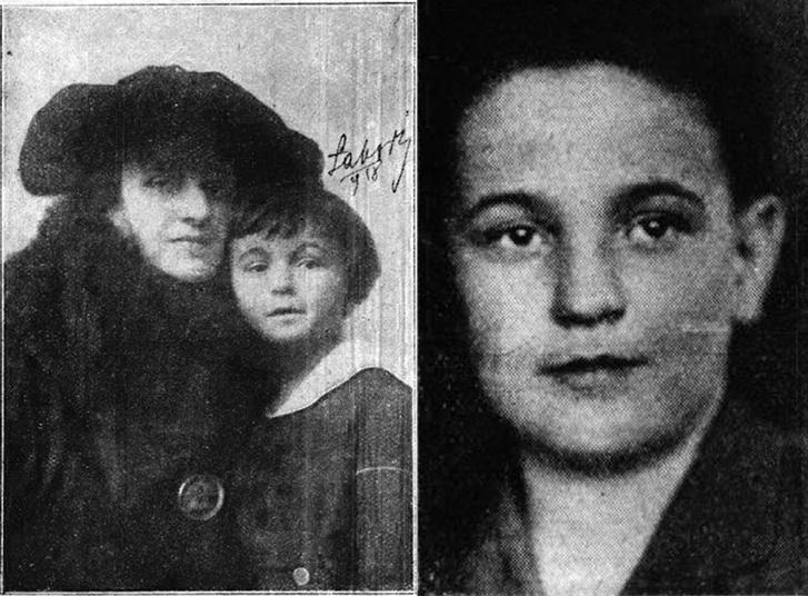 Bal oldalon: Karinthy Frigyesné és kisfia, Gábor. Jobb oldalon: Karinthy Gábor, Karinthy Frigyes 11 esztendős kisfia. Forrás: Színházi Élet - 1918/41. szám / 1926/28. szám. / Arcanum adatbázis