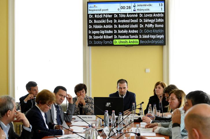 Rádi Péter, a Nemzeti Választási Bizottság (NVB) elnöke (szemben j2) beszél, mellette Bozsóki Éva, az NVB elnökhelyettese (j), Pálffy Ilona a Nemzeti Választási Iroda elnöke (b2) és Sóskuti-Varga Gergely, az NVB titkárságának főosztályvezetője (b) az NVB ülésén a Nemzeti Választási Iroda (NVI) Alkotmány utcai székházában 2019. április 11-én. Az ülésen nyilvántartásba vették a Jobbik, a Fidesz-KDNP és a Momentum listáját a május 26-i európai parlamenti (EP-) választásra.
