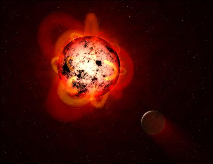 Illusztráció: egy vörös törpe elfújja a hozzá közel keringő exobolygó légkörét