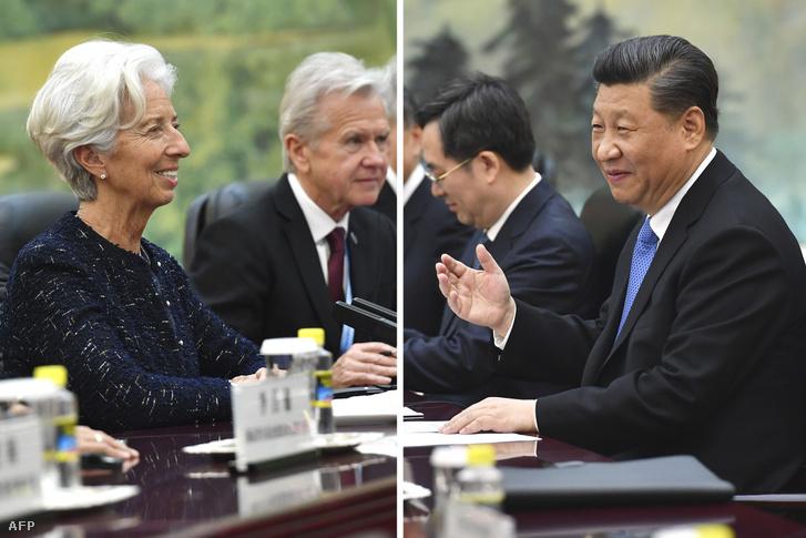 Christine Lagarde (balra), az IMF igazgatója és Xi Jinping (jobbra), Kína elnöke pekingi találkozójukon 2019. április 24-én