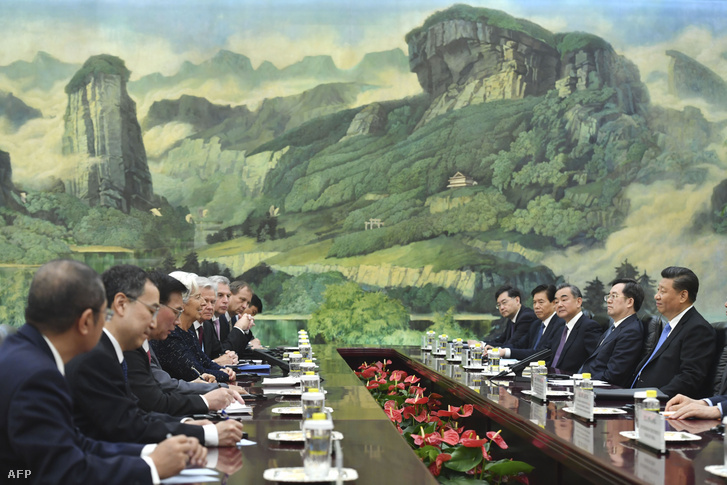 IMF-Kína találkozó Pekingben 2019. április 24-én, amin részt vett Christine Lagarde és Xi Jinping is.