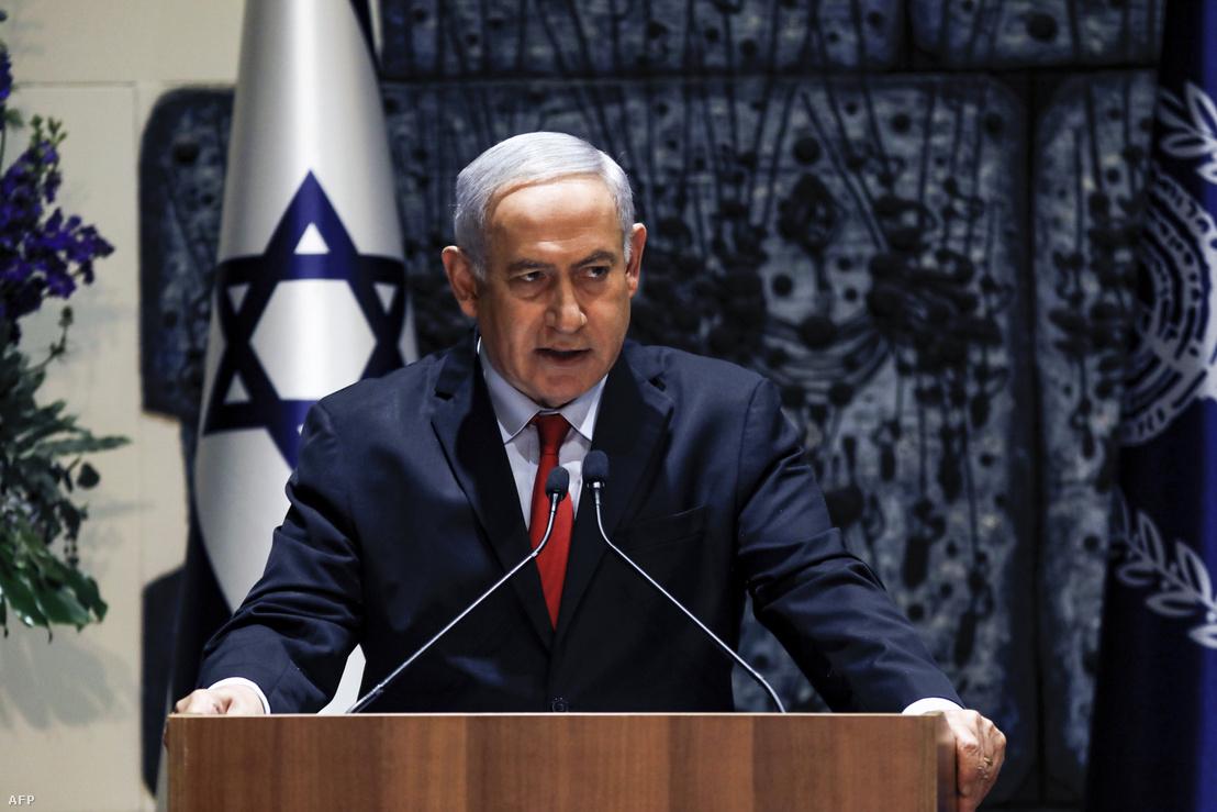 Benjamin Netanjáhu beszédet tart Jeruzsálemben az elnöki rezidencián 2019. április 17-én