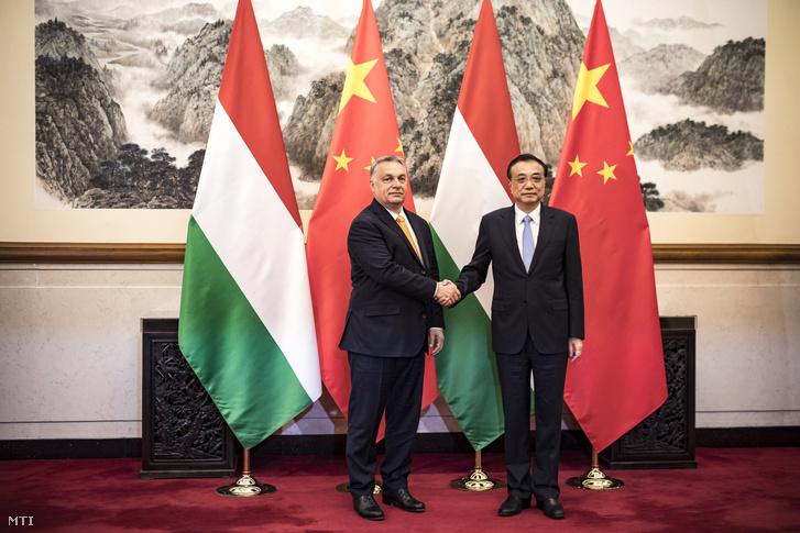 Orbán Viktor és Li Ko-csiang kétoldalú tárgyalásukon Pekingben 2019. április 25-én.
