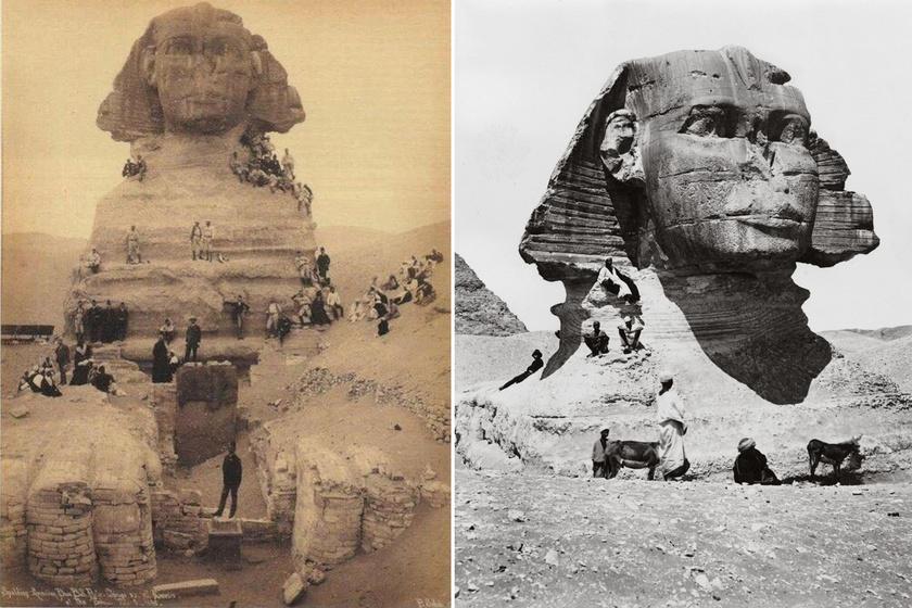 Nagyon máshogy nézett ki a szfinx, mint ma: ritka fotókon, milyen volt 100 évvel ezelőtt