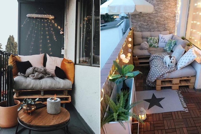Néhány raklappalés pár párnával elképesztően otthonos, barátságos sarkot lehet létrehozni még egy icipici erkélyen is. Tökéletes kuckózásra és olvasásra a nyári estéken. Hangulatvilágítással pedig igazi romantikus menedék.