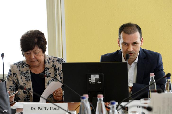Pálffy Ilona és Rádi Péter az NVB ülésén a Nemzeti Választási Iroda (NVI) Alkotmány utcai székházában 2019. április 11-én.