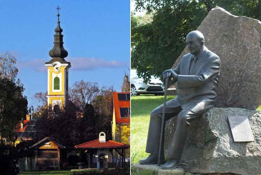 Feked temploma és a falu egykori díszpolgára, Habsburg Ottó szobra.