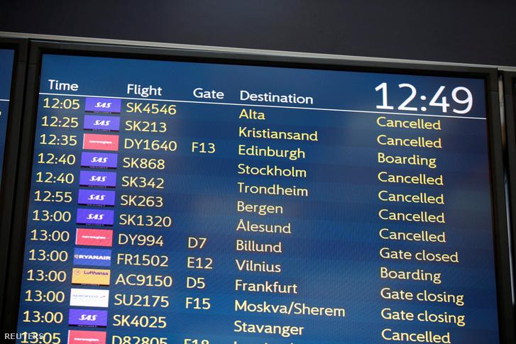A Skandinavian légitársaság (SAS) pilótái sztájkolnak 2019. április 26-án.