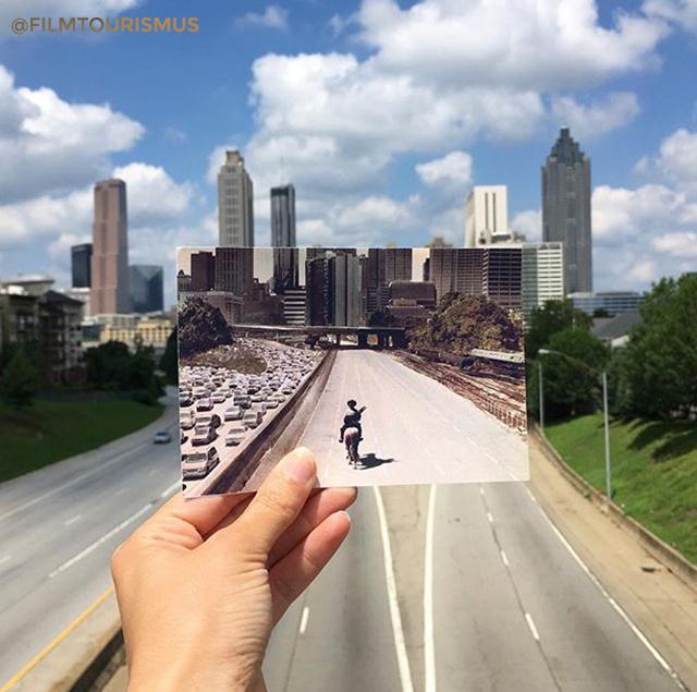 Kihalt város, üres utcák: a The Walking Dead egyik híres pillanatképe, mely a Georgia állambeli Atlantában készült.