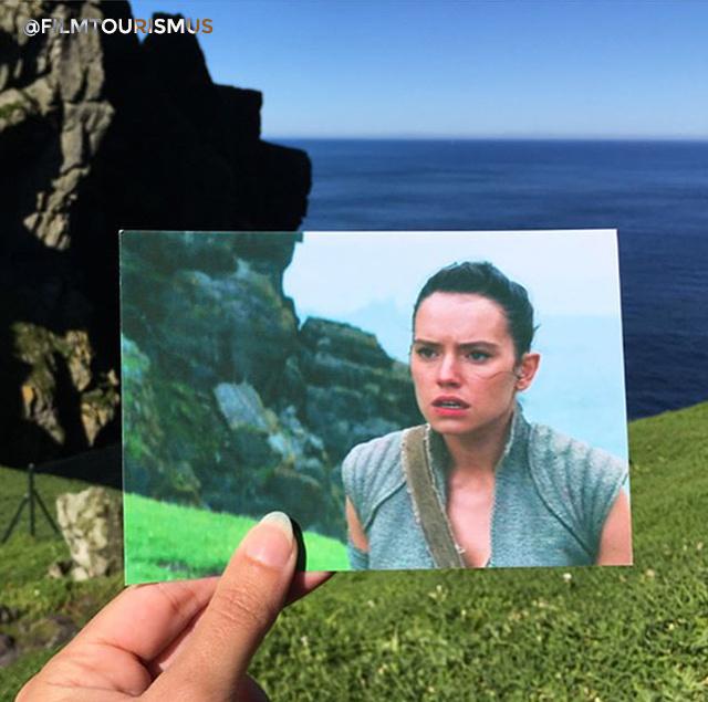 Az ébredő Erő utolsó jelenetsorai, amelyben Rey az elveszettnek hitt Luke Skywalkerre talál rá
