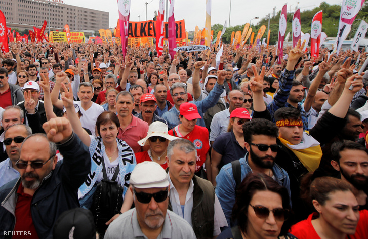 Tüntetés Isztambulban 2019. május 1-én.