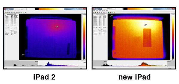 A hőkamera képe a régi és az új iPadről (forrás: Consumer News)