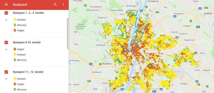A csapvíz ólomtartalmának kockázati térképe Budapesten. A képre kattintva megtekintheti Magyarország térképén a részletes felmérést az ÁNTSZ oldalán.
