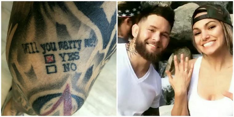 Ezért a szerelmespárnak már nem is volt más dolga, csak hogy visszamenjen a tetoválószalonba és egy X-et tegyenek a Yes felirat mellé