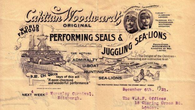 James Woodward vízi cirkuszának hirdetése, a műsor sztárjai az admiralitás oroszlánfókái