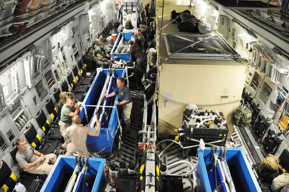 Négy delfint szállítanak az amerikai légierő C-17-es repülőgépének fedélzetén