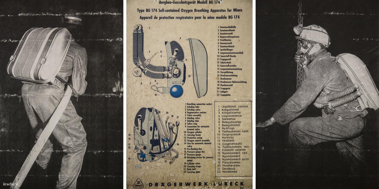 A kiállításon több Dräger-féle, sűrített oxigénnel működő, hordozható légzőkészülék is látható, ez itt két archív fotó, és a készülék tájékoztató ábrája a múzeum gyűjteményéből.