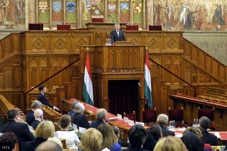 Kövér László az Országgyûlés elnöke beszédet mond a magyar bírói függetlenséget garantáló törvény elfogadásának 150. évfordulója alkalmából tartott konferencián az Országházban 2019. április 24-én.