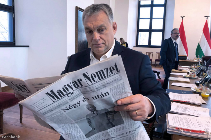 Viktor Orbán reading the first issue of the propaganda reboot of previously defunct Magyar Nemzet